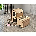 Cat Cardboard House Tree Tower Condo Scratcher Pet Post Pad Mat Furniture