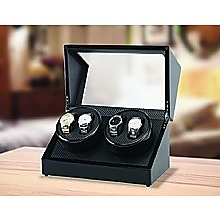Automatic Quad Watch Winder Wood Display Box Case Motor Rotation Storage
