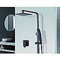 "WELS 8"" Rain Shower Head Set Square Dual Heads Faucet High Pressure With Mixer"