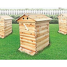 Wooden Beekeeping Beehive House + 7PCS Upgraded Flow Bee Comb Hive Frames