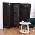 6-Panel Room Divider Screen Privacy Rattan Dividers Stand Fold