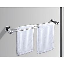 Double Classic Chrome Towel Bar Rail Bathroom