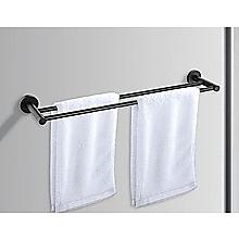 Double Classic Towel Bar Rail Bathroom Matte Black Finish