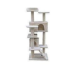 132cm Cat Tree Scratching Post Scratcher Tower Condo House Furniture Wood - Beige
