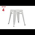Set of 4x 45cm Tolix Retro Reproduction Cafe Bar Stools - White