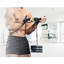 Forearm Wrist Grip Strength Roller Exercise Bar Home Gym Training
