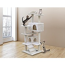 132cm Cat Tree Scratching Post Scratcher Tower Condo House Furniture Wood - Beige