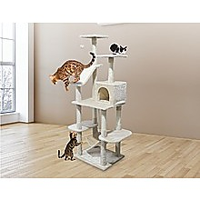 171cm Cat Tree Trees Scratching Post Scratcher Tower Condo House - Beige