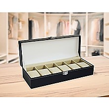 6 Slot Men's Watch Display Case Box Black PU Leather