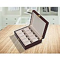 10 Grids Wooden Watch Case Glass Jewellery Storage Holder Box Wood Display