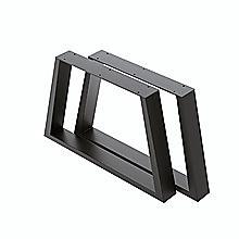 Trapezium-Shaped Table Bench Desk Legs Retro Industrial Design Fully Welded - Black