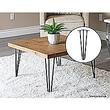 Set of 4 Industrial 3-Rod Retro Hairpin Table Legs 12mm Steel Bench Desk - 41cm Black