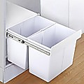 Kitchen Double Slide Pull Out Bin for Garbage Rubbish Waste 2X20L