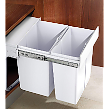 Kitchen Double Slide Pull Out Bin for Garbage Rubbish Waste 10L+20L