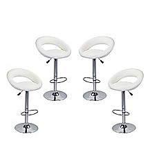 4x White PU Leather Circular Kitchen Bar Stools