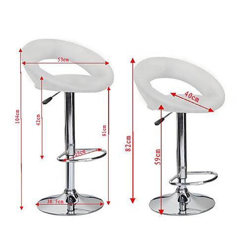 4x White PU Leather Circular Kitchen Bar Stools - Furniture