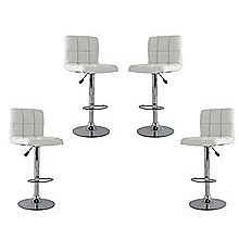 4x White PU Leather Full Grid Kitchen Bar Stools