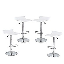 4x White PVC Contemporary S-Curve Kitchen Bar Stools