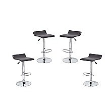 4x Brown PVC Contemporary S-Curve Kitchen Bar Stools