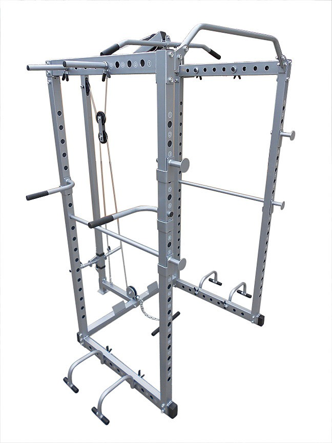 Power Rack Squat Cage Stands w Lat Pulldown Home Gym ...