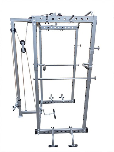Power Rack Squat Cage Stands w Lat Pulldown Home Gym - Sports & Fitness