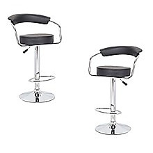 2x Black PU Leather Half-Moon Kitchen Bar Stools