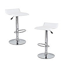 2x White PVC Contemporary S-Curve Kitchen Bar Stools