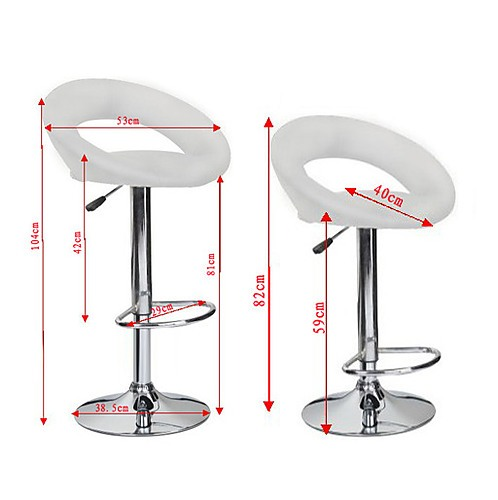 2x White PU Leather Circular Kitchen Bar Stools - Furniture