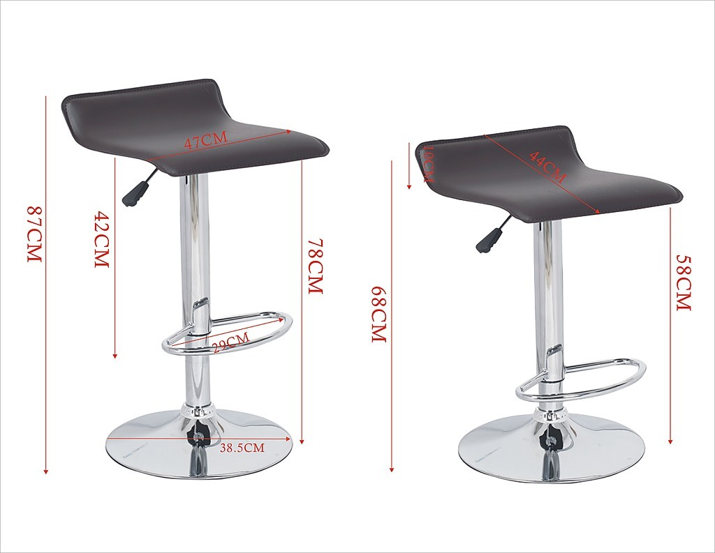 2x Brown Pvc Contemporary S Curve Kitchen Bar Stools