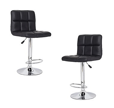 2x blackpu leather full grid kitchen bar stools
