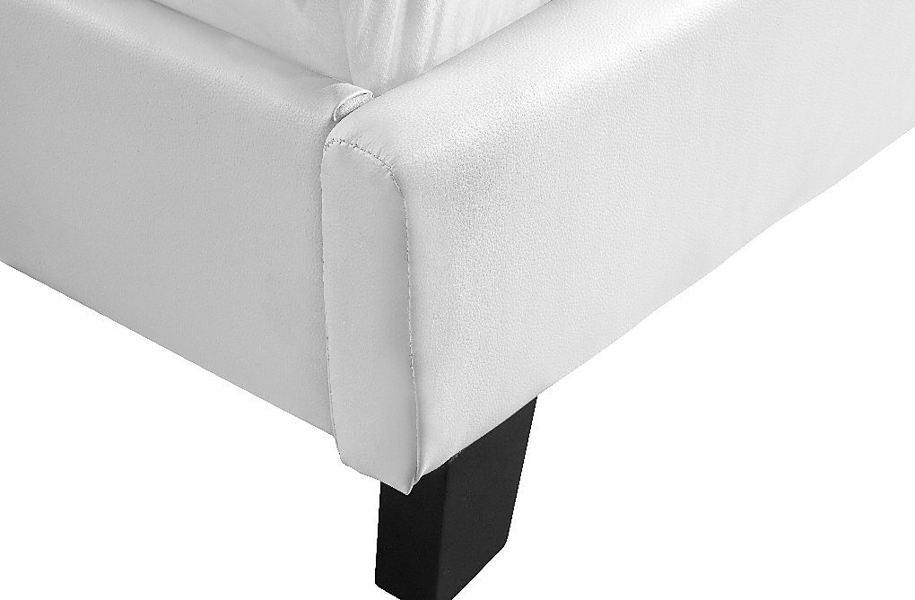 Double Bed Frame White Pu Leather