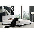 King Bed Frame White PU Leather