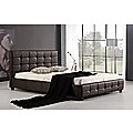 Queen Brown PU Leather Deluxe Bed Frame