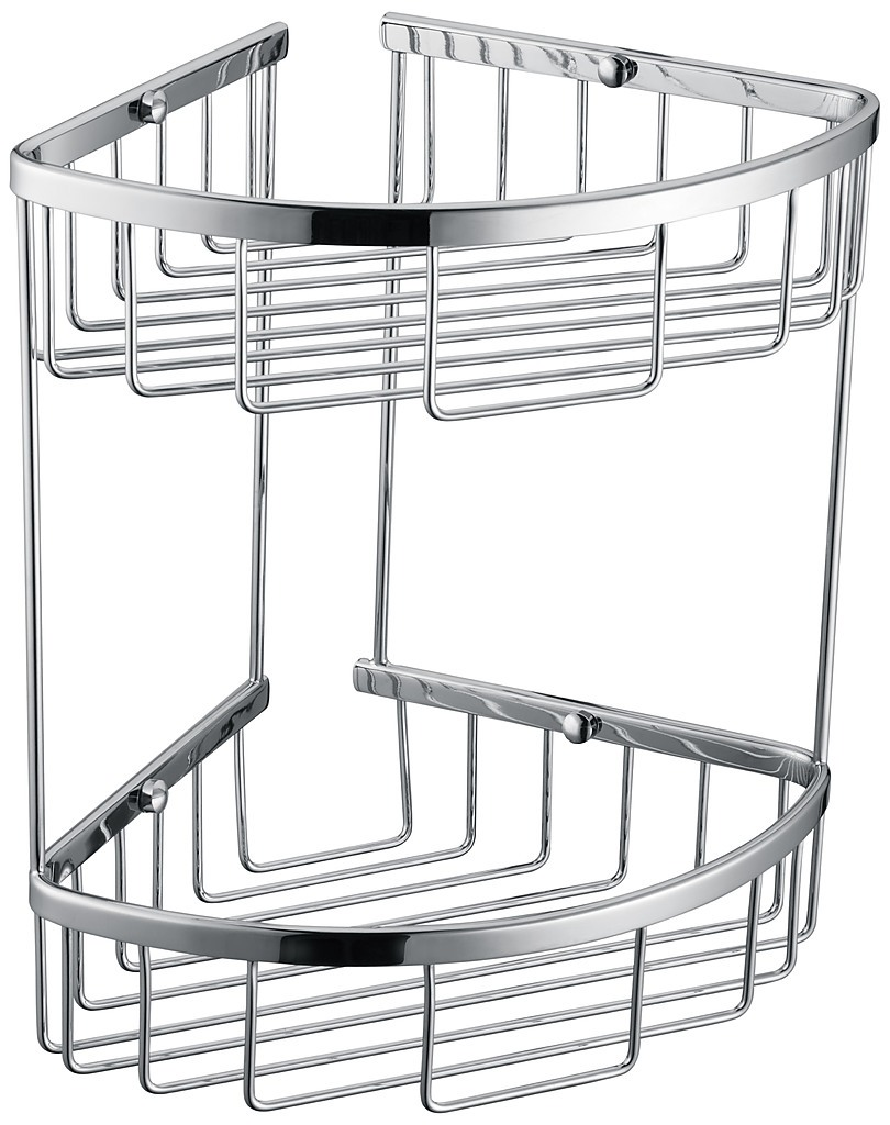 2 tier corner bathroom basket shelf rail rack diy for Bathroom accessories baskets