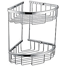 2-Tier Corner Bathroom Basket Shelf Rail Rack