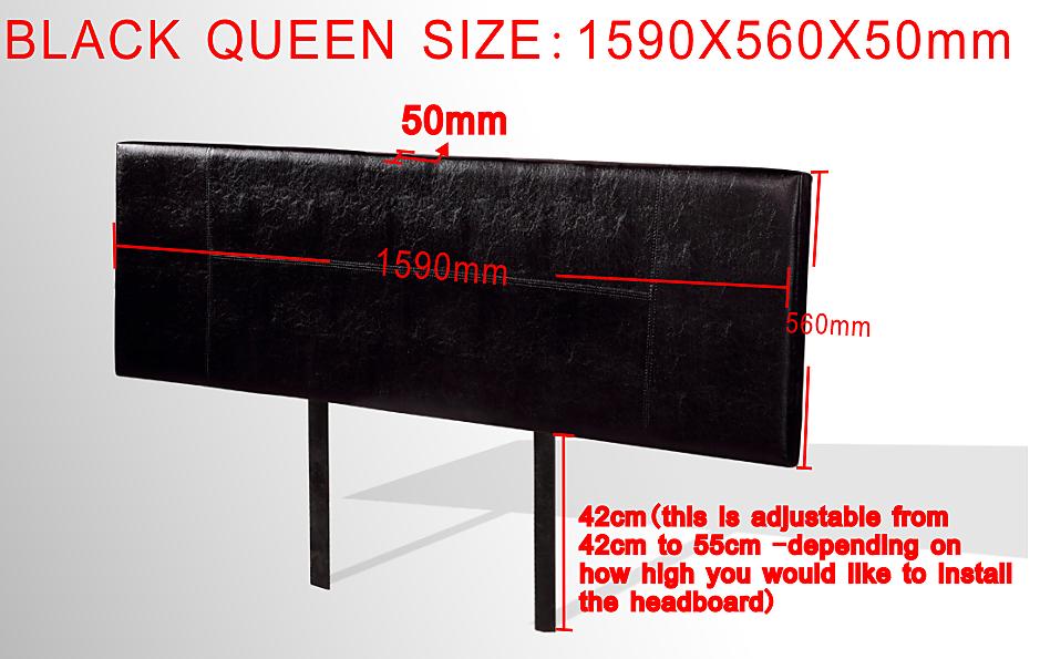 Pu Leather Queen Bed Headboard Bedhead Black Furniture