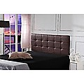 Double PU Leather Bed Deluxe Headboard Bedhead - Brown