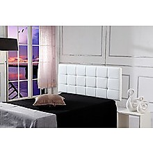 Double PU Leather Bed Deluxe Headboard Bedhead - White