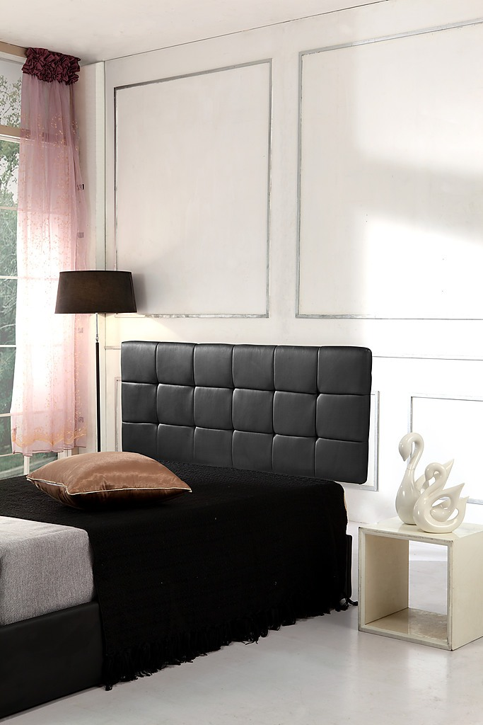 Pu Leather Queen Deluxe Headboard Black