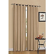 2 x Latte/Light Brown 100% Blockout Eyelet Curtains 300cm x 230cm (Drop)