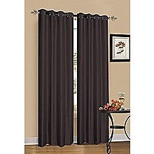 2 x Chocolate Brown 100% Blockout Eyelet Curtains 300cm x 230cm (Drop)