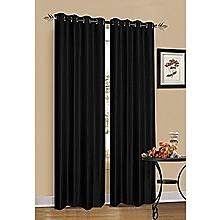2 x Black 100% Blockout Eyelet Curtains 140cm x 230cm (Drop)