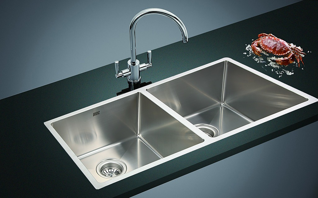 1 2mm Handmade Double Stainless Steel Sink With Waste