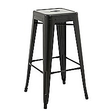 Set of 4x 75cm Tolix Retro Reproduction Cafe Bar Stools - Black