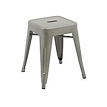 Set of 4x 45cm Tolix Retro Reproduction Cafe Bar Stools - Silver