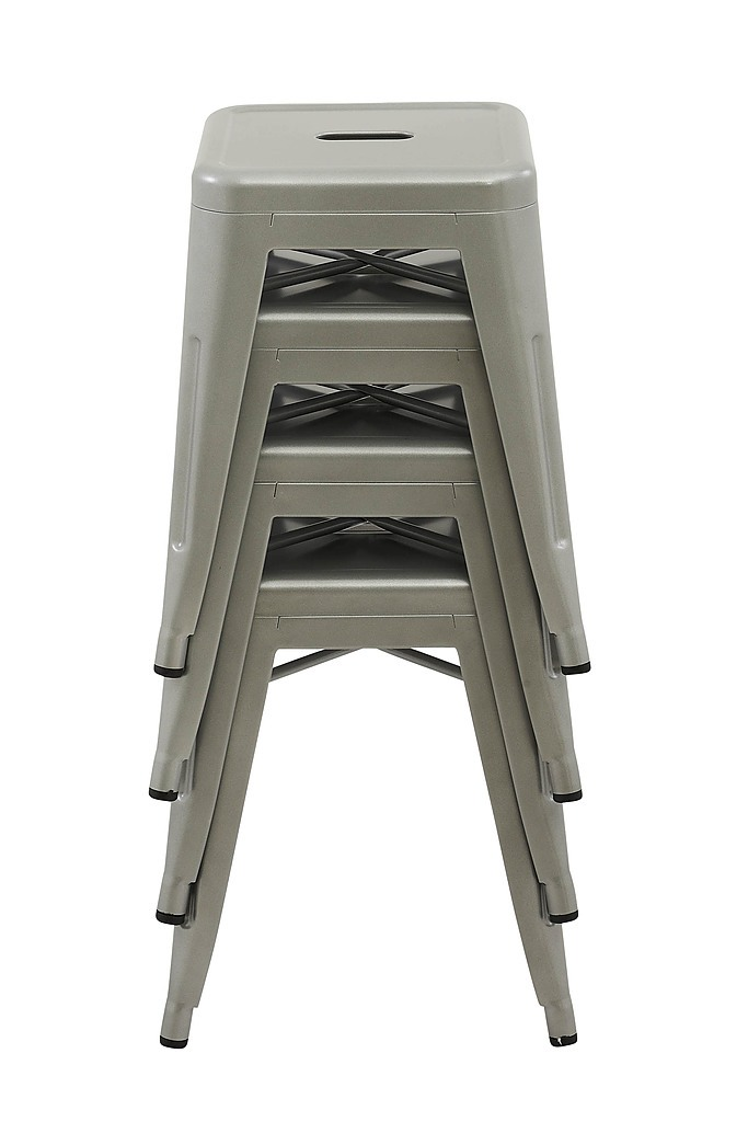 Set Of 4x 45cm Tolix Retro Reproduction Cafe Bar Stools