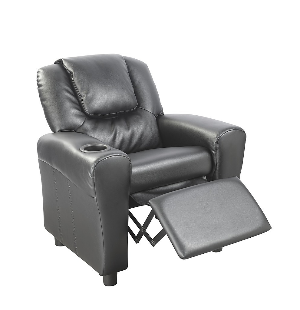 Kid Recliner Chair In Black Pu Leather With Drink Holder