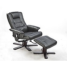 PU Leather Massage Chair Recliner Ottoman Lounge Remote - Black
