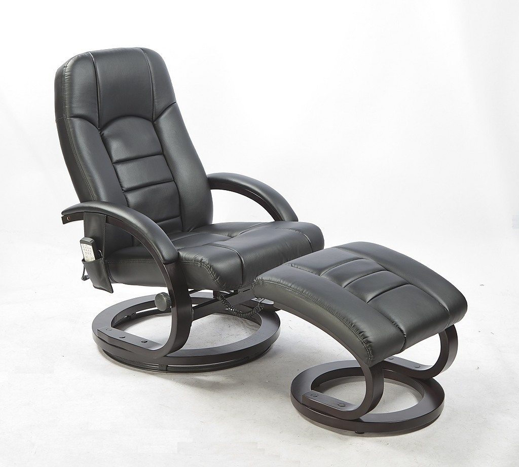 Deluxe Pu Leather Full Body Massage Chair Recliner Ottoman