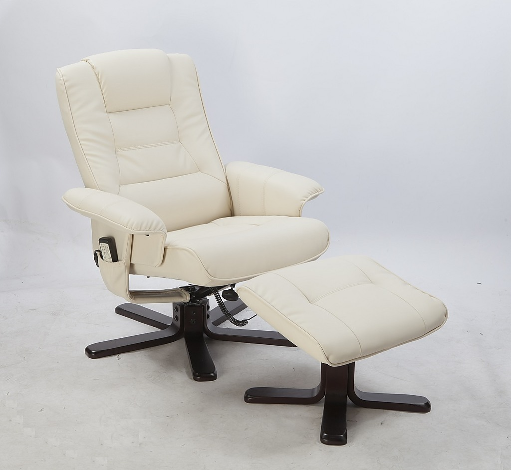 Pu Leather Full Body Massage Chair Recliner Ottoman With